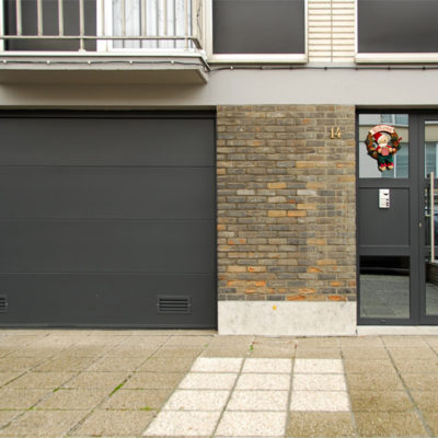 Sectionaalpoort met vlakke aluminium panelen en verglaasde voordeur met zijlicht en spiegelglas